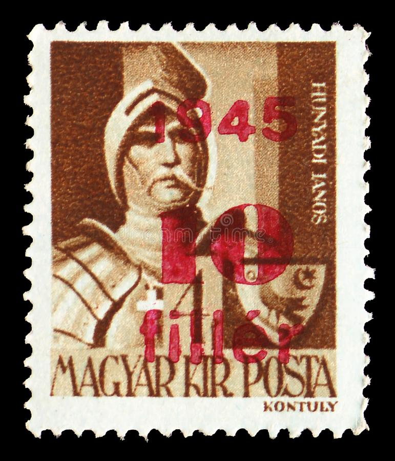 Janos Hunyadi 1385-1456, Surcharged serie, circa 1945. MOSCOW, RUSSIA - JULY 19, 2019: Postage stamp printed in Hungary shows Janos Hunyadi 1385-1456, Surcharged stock images