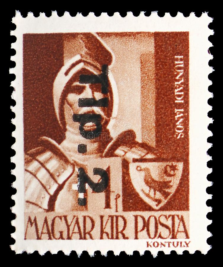 Janos Hunyadi 1385-1456, Surcharged serie, circa 1945. MOSCOW, RUSSIA - JULY 19, 2019: Postage stamp printed in Hungary shows Janos Hunyadi 1385-1456, Surcharged royalty free stock image