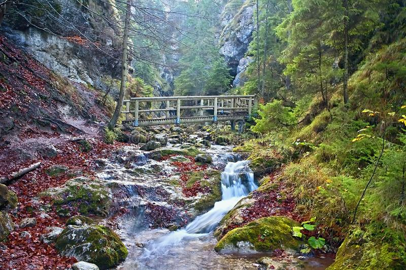 Janosikove diery - a famous tourist destination in Slovakia. A lot of waterfalls, benches, chains and steep cliffs. royalty free stock photo