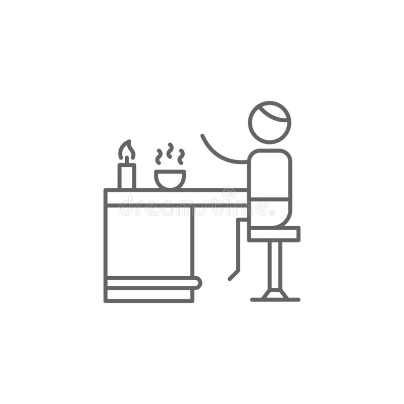 Jantando, povos, ícone do restaurante Elemento do ?cone do restaurante Linha fina ?cone para o projeto do Web site e o desenvolvi ilustração stock