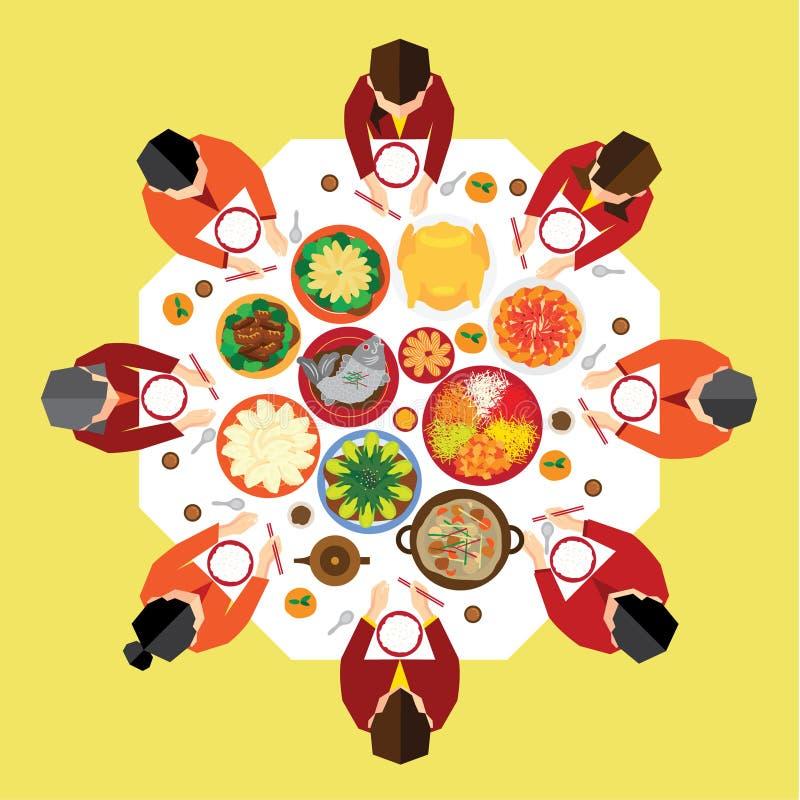 Jantar chinês da reunião do ano novo ilustração stock