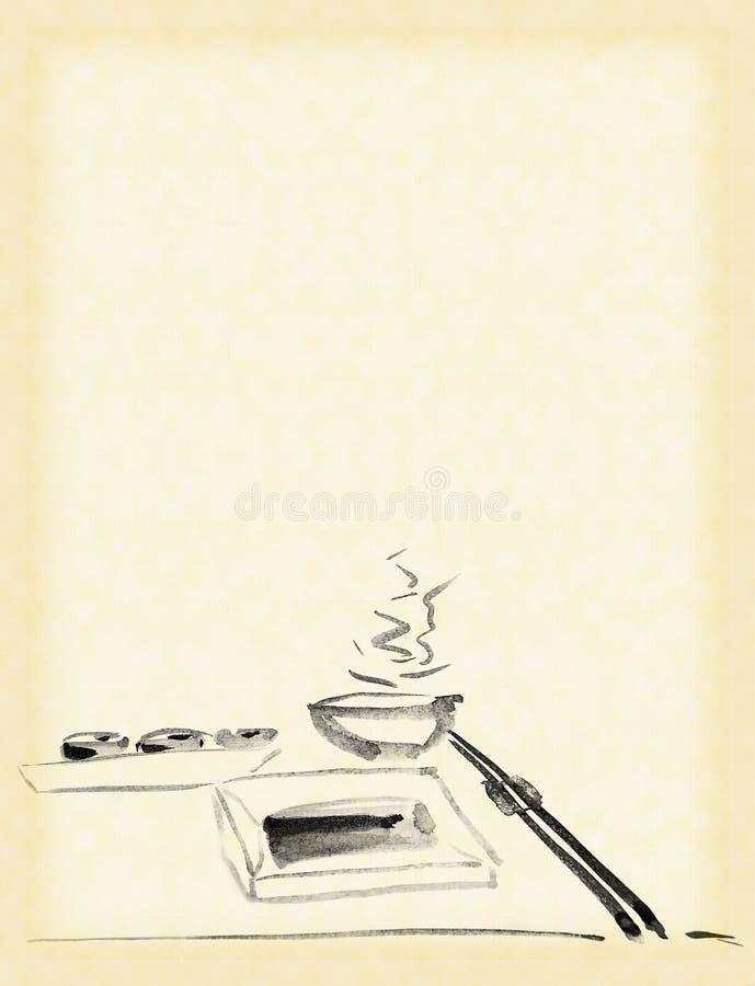 Jantar com sushi ilustração stock