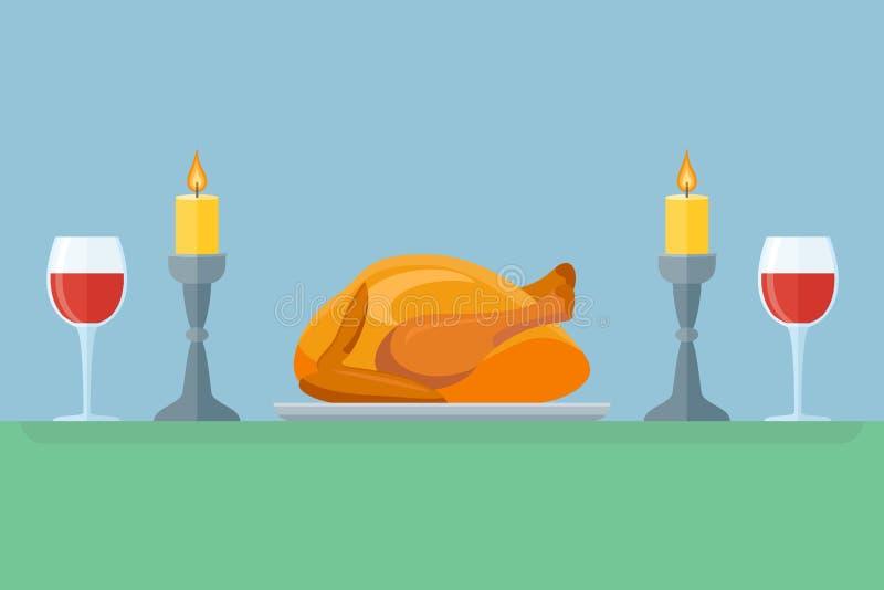 Jantar da ação de graças com peru e vinho Celebração do feriado Estilo liso ilustração stock
