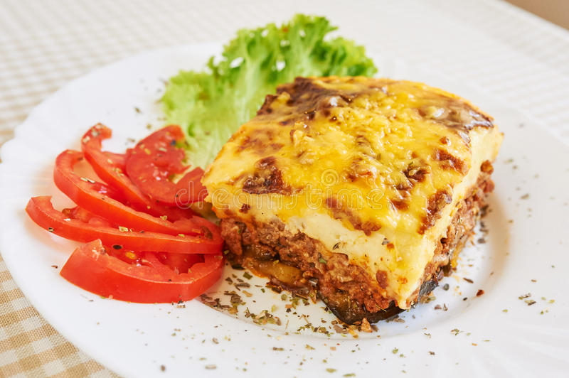 Jantar de Moussaka foto de stock royalty free