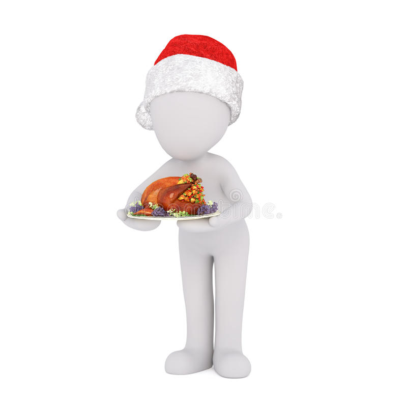 jantar de Natal do serviço do cozinheiro chefe 3d ou do garçom ilustração do vetor