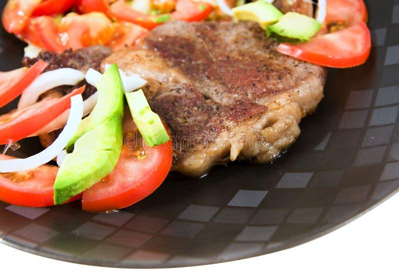 Jantar do bife e da salada foto de stock royalty free