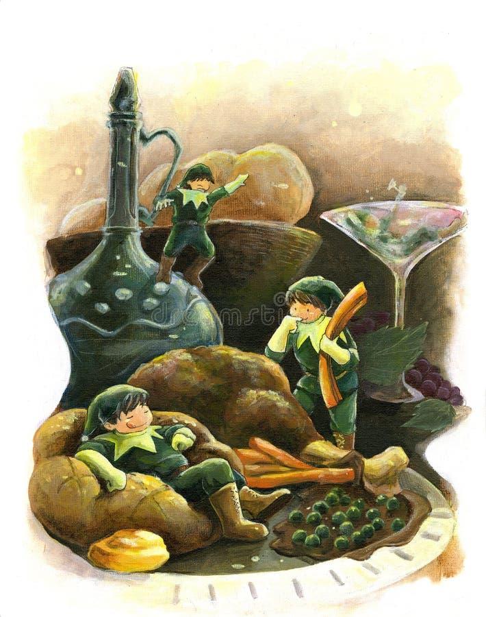 Jantar do peru do feriado do conto de fadas do duende   ilustração stock