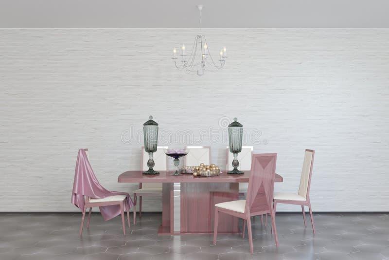 Jantar do restaurante no interior do tijolo do sótão com mobília clássica ilustração do vetor