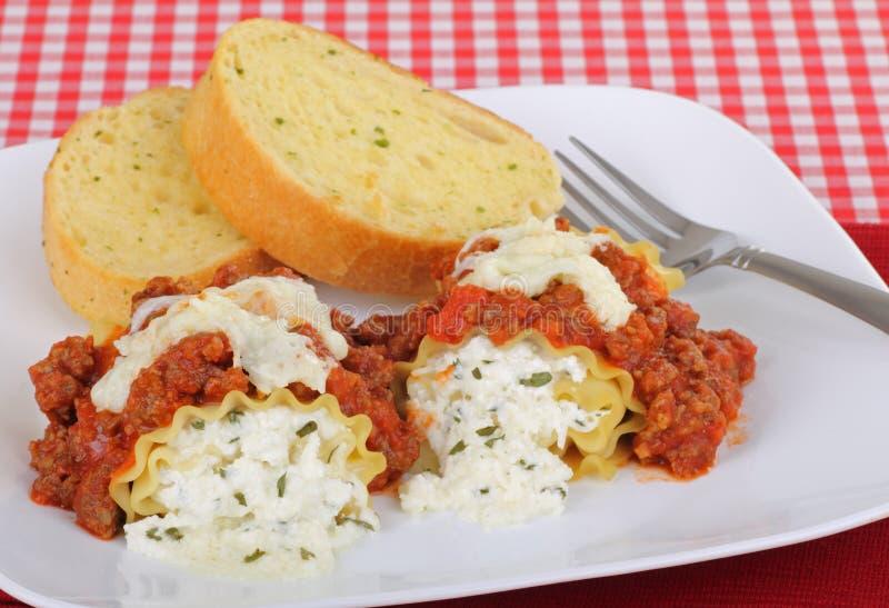 Jantar dos Rollups do Lasagna fotografia de stock royalty free