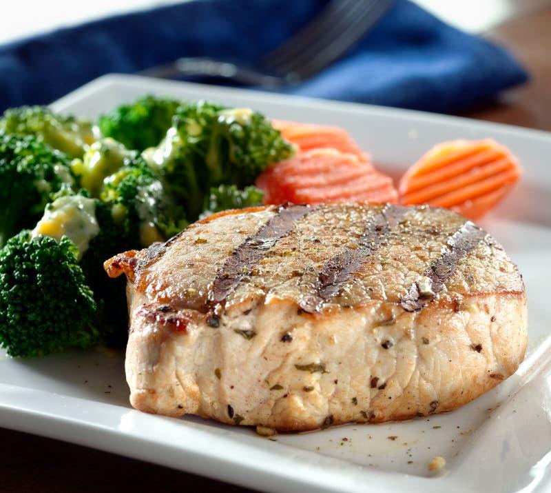 Jantar fino - jantar da faixa da carne de porco imagem de stock