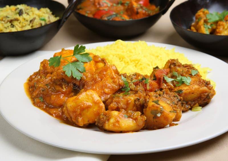 Jantar indiano do caril fotografia de stock