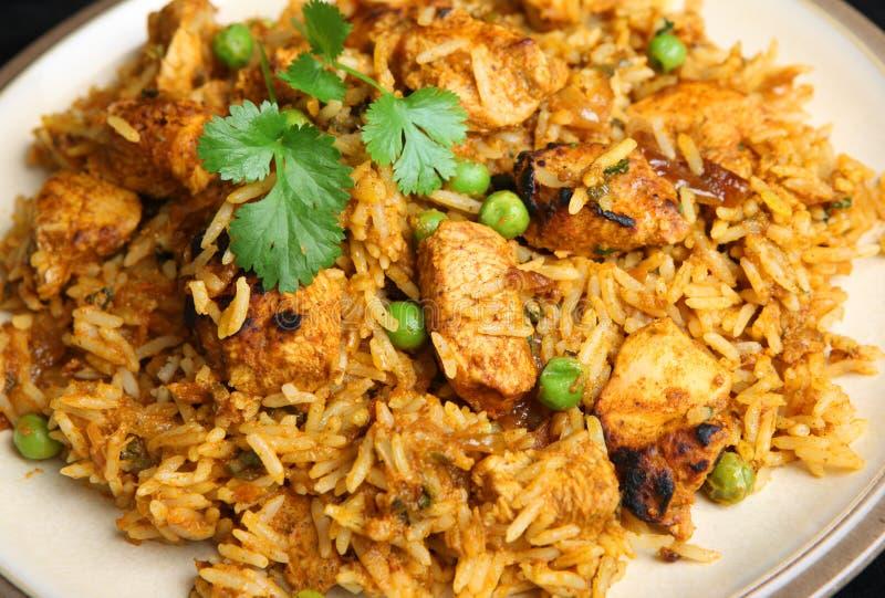 Jantar indiano do caril de Tikka Biriyani da galinha fotos de stock