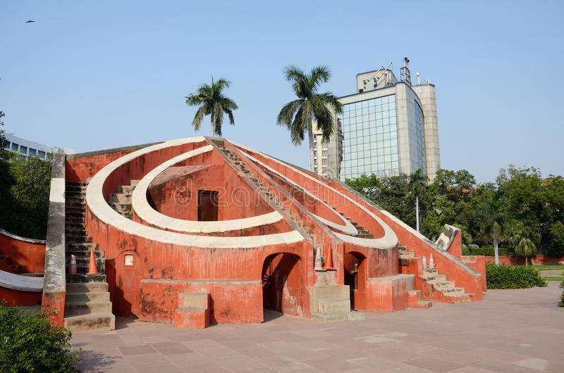 Jantar Mantar-中世纪观测所在德里,印度 库存照片