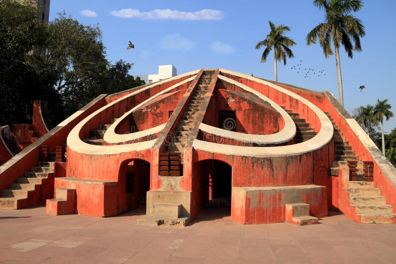Jantar Mantar建筑天文仪器,新德里, Ind 免版税库存照片