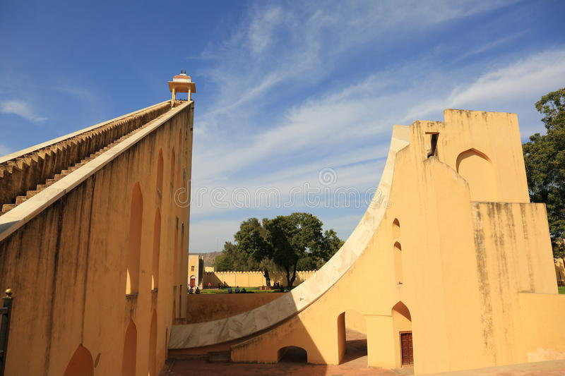 Jantar Mantar observatory (Jaipur). The Jantar Mantar observatory of Jaipur, is a collection of nineteen architectural astronomical instruments, built by the stock image