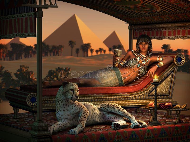 Jantar nas pirâmides, 3d CG ilustração stock