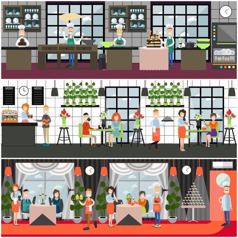 Jantar no restaurante, ilustração lisa do vetor do café ilustração royalty free