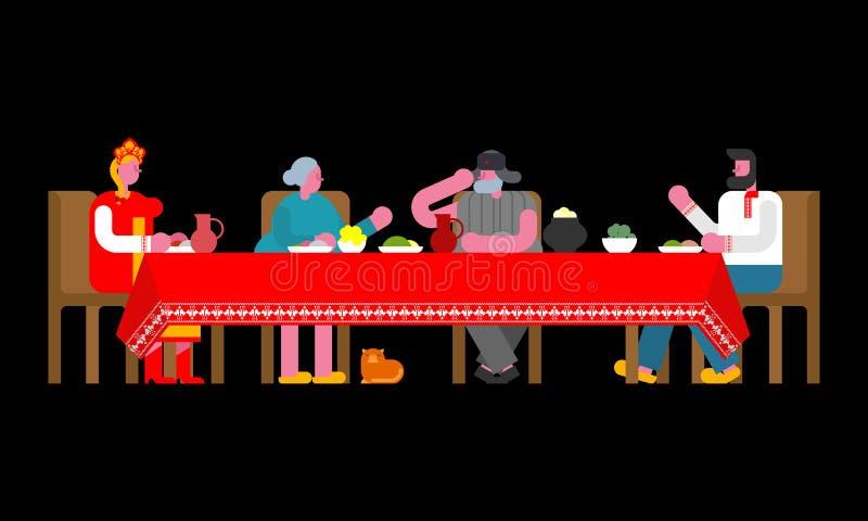 Jantar popular da família do russo Grande tabela em Rússia tradicional ilustração stock