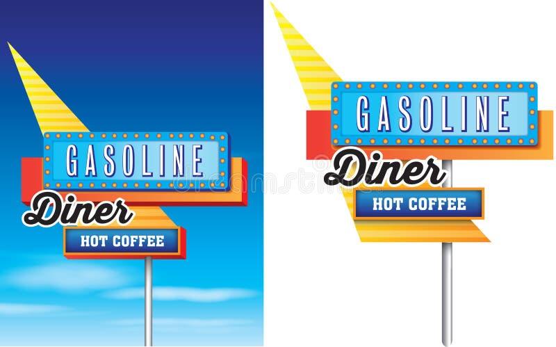 Jantar retro do vintage, gasolina e borda da estrada americana s do café quente ilustração do vetor