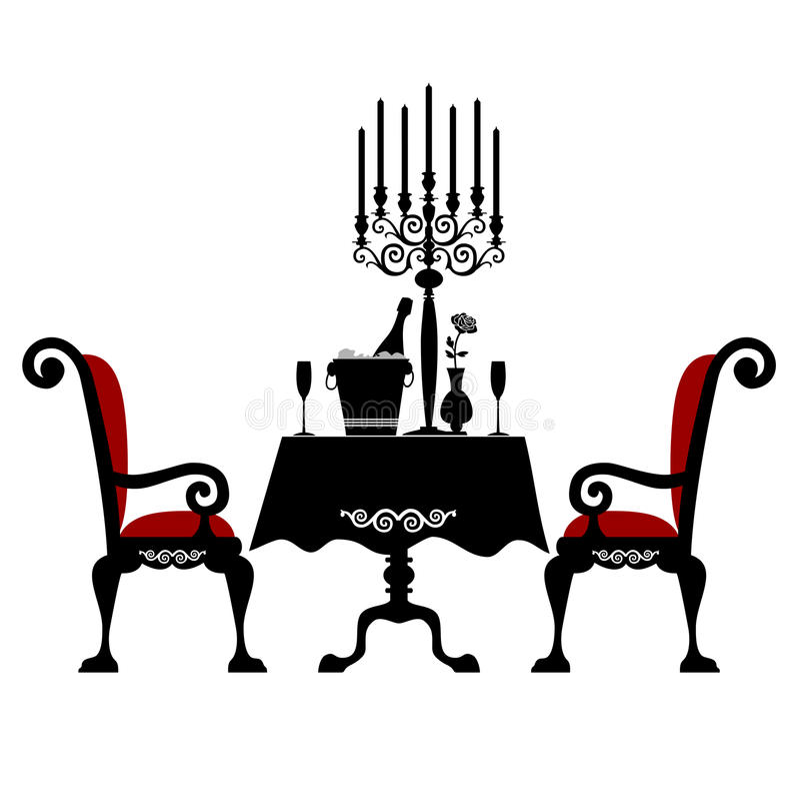 Jantar romântico para dois ilustração do vetor