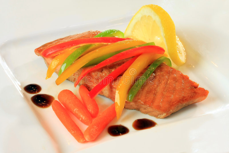 Jantar Salmon foto de stock royalty free