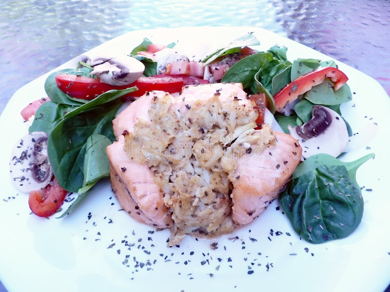 Jantar salmon enchido fotografia de stock royalty free
