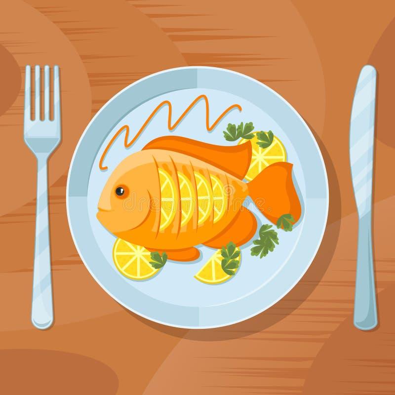 Jantar saudável dos peixes frescos Ilustração deliciosa do vetor do prato ilustração royalty free