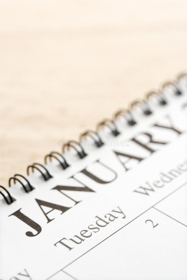 Januar auf Kalender. stockfotografie