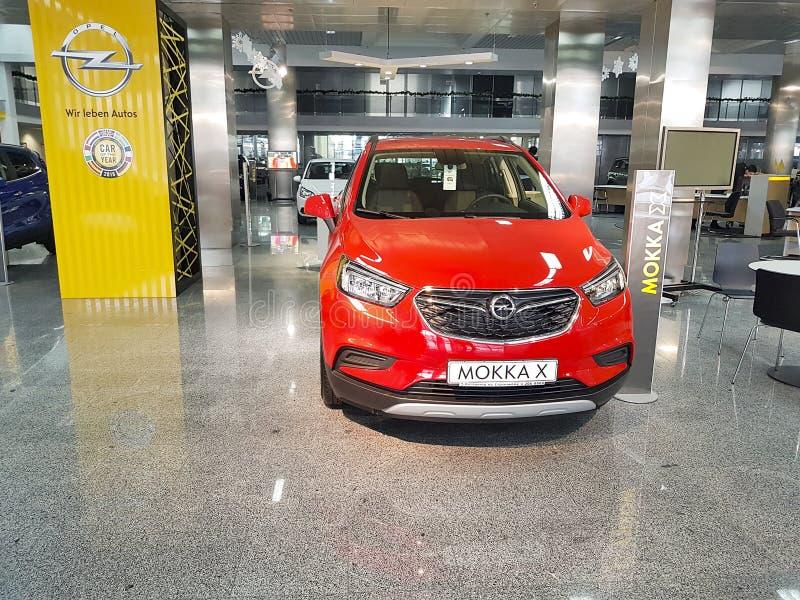21. Januar 2018 Autosalon Ukraine Kiew Opel-Darstellung stockbilder