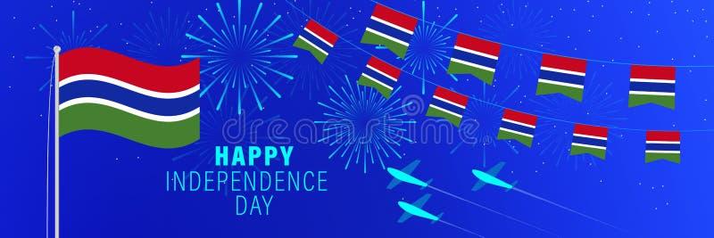18. Januar Gambia-Unabhängigkeitstaggrußkarte Feierhintergrund mit Feuerwerken, Flaggen, Fahnenmast und Text stock abbildung