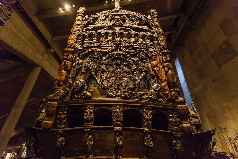 21. Januar 2017: Hintere Ansicht der Vasa versenden Museum in Stockholm stockfotografie