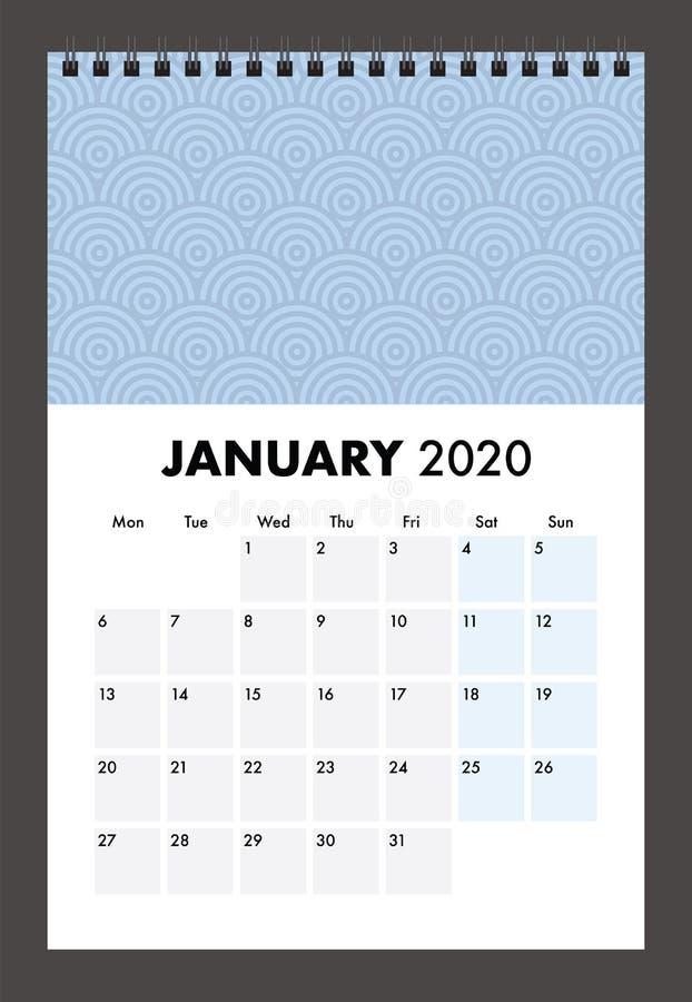 Januar 2020 Kalender mit Drahtband lizenzfreie abbildung