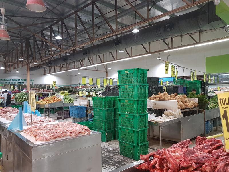 8. Januar 2019 Kuala Lumpur Der Markt wenn Pasar Besar Selayang früh morgens lizenzfreie stockbilder