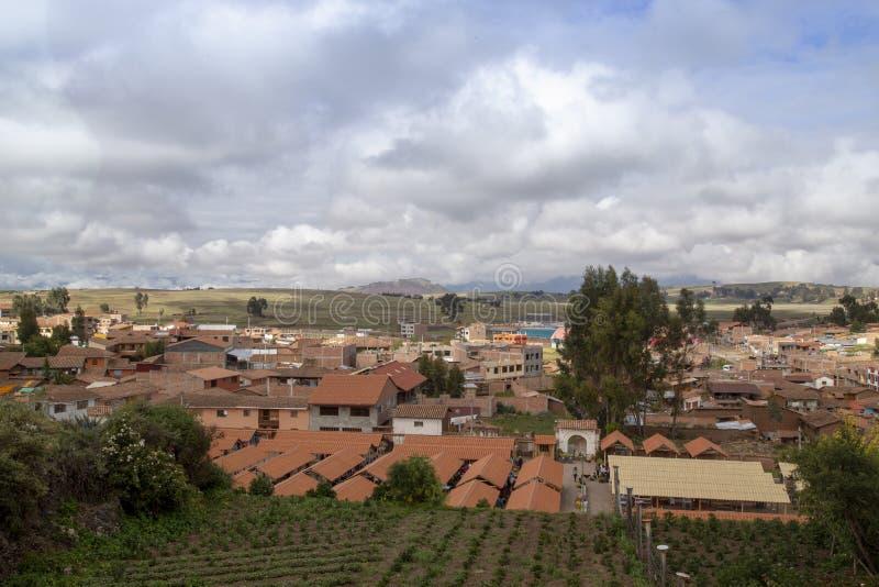 20. Januar 2019 panoramische Vogelperspektive über dem Hauptplatz von Cusco u. von x28; Plaza de Armas lizenzfreies stockbild