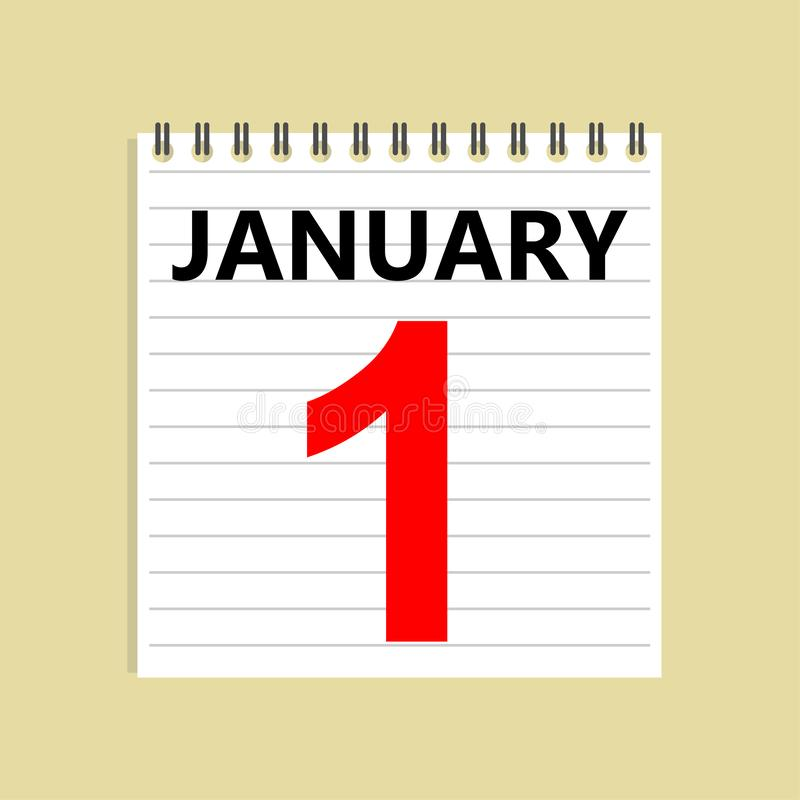 1. Januar Tragen Sie Ikone ein Zerknittertes Papier auf dem Boden Neujahr lizenzfreie abbildung
