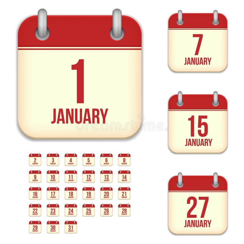 Januar-Vektorkalenderikonen lizenzfreie abbildung