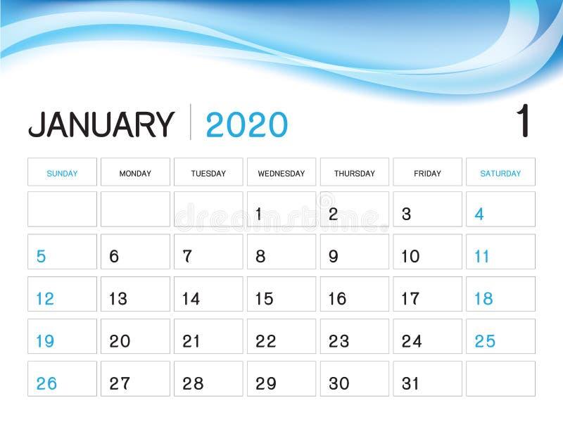 Januari 2020 årsmall, kalender2020 vektor, design för skrivbordkalender, veckastart på söndag, stadsplanerare, brevpapper som vektor illustrationer