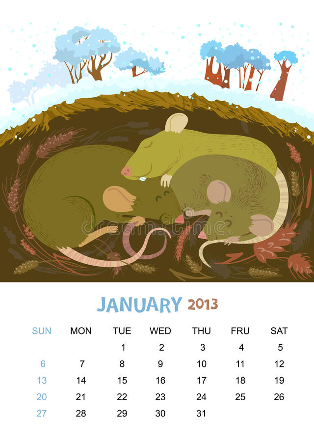 Januari stock illustrationer