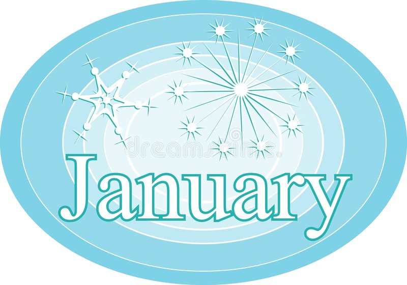 januari royaltyfri illustrationer