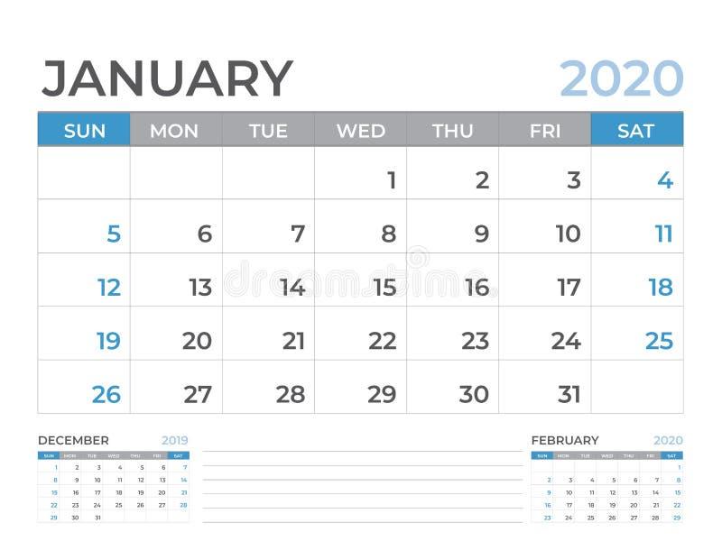Januari 2020 begint het Kalendermalplaatje, de lay-outgrootte van de Bureaukalender 8 x 6 duim, ontwerpersontwerp, week op zondag vector illustratie