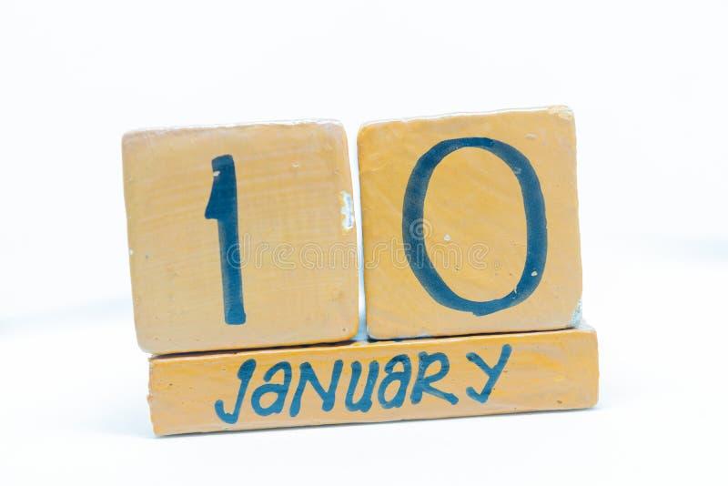 10 januari Dag 10 van maand, kalender op houten achtergrond De wintertijd, jaarconcept stock fotografie