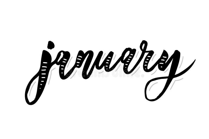 Januari-de Maand Vectorborstel van de Kalligrafie Van letters voorziende Dag vector illustratie