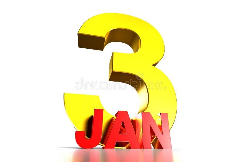 3 januari Drie Afmetingen Witte achtergrond vector illustratie