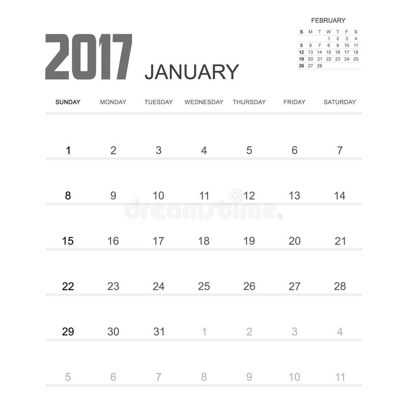 2017 JANUARI-het Ontwerp van de Kalenderontwerper vector illustratie