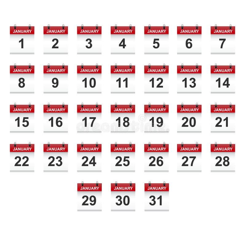 Januari-het vectorart. van de kalender 1-31 illustratie vector illustratie
