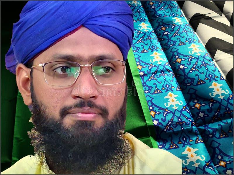 Januari 1, 2019 i Hyderabad Sindh, Pakistan: Asiatisk man i blå turban i olika stilar arkivbild