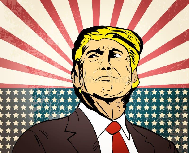 25 januari, 2017: illustratie van Amerikaanse voorzitter Donald Trum stock illustratie