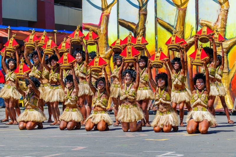 24 januari 2016 Iloilo, Filippijnen Festival Dinagyang Unid stock foto