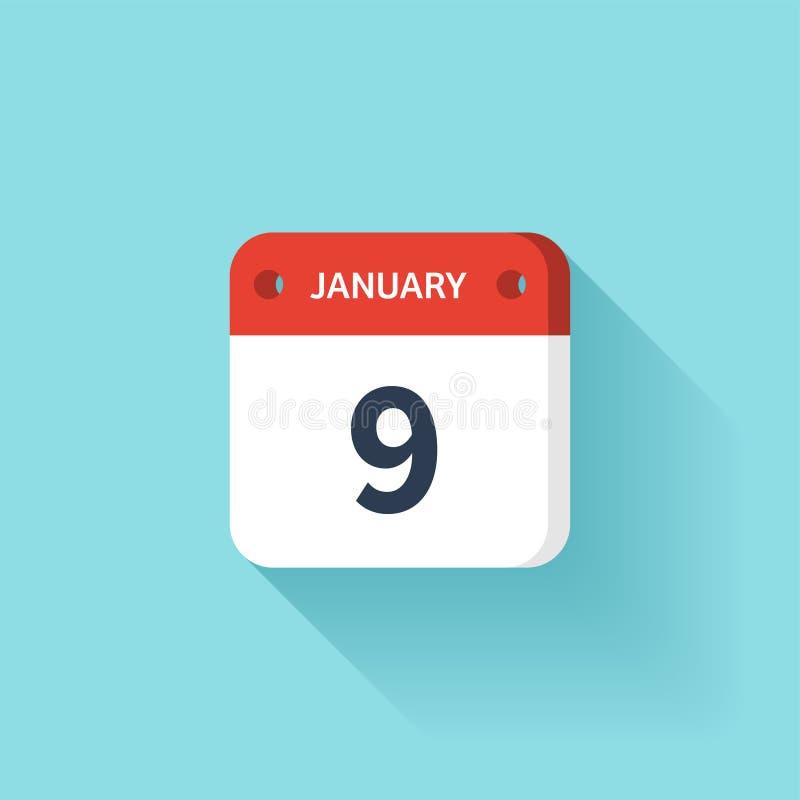 Januari 9 Isometrisk kalendersymbol med skugga Vektorillustration, lägenhetstil Månad och datum söndag måndag, tisdag stock illustrationer