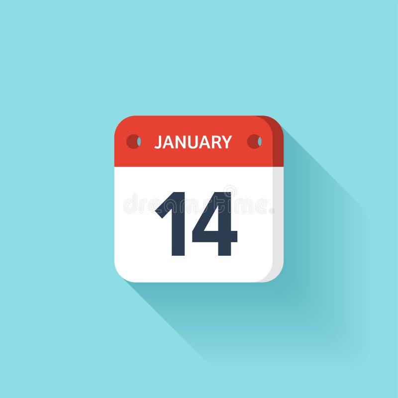 Januari 14 Isometrisk kalendersymbol med skugga Vektorillustration, lägenhetstil Månad och datum söndag måndag, tisdag stock illustrationer